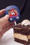 Испытание сахара крови с предупредительным знаком Стоковые Изображения RF