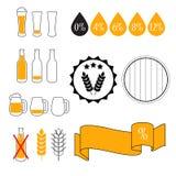 Испытание содержания алкоголя ровное, комплект значка вектора иллюстрация штока