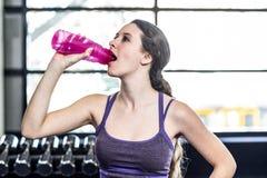 Испытывающая жажду питьевая вода женщины на шарике тренировки Стоковые Фотографии RF