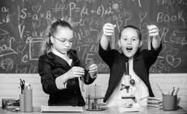 Исследование проекта школы Эксперимент по школы Возбужденная школьная форма девушек доказывающ их гипотезу Школа для стоковое фото