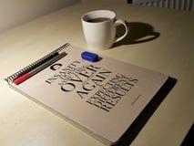 Исследование с кофе Стоковая Фотография