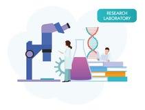 Исследование ученых людей вектора в процессе лаборатории Иллюстрация шаржа вектора плоская стоковое изображение rf