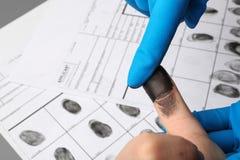 Исследователь принимая отпечатки пальцев подозреваемого на таблицу Уголовная экспертиза стоковое фото