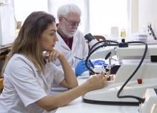 Исследователя здравоохранения работая в лаборатории наук о жизни стоковое изображение