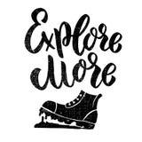 Исследуйте больше Помечать буквами фразу с иллюстрацией ботинок на предпосылке grunge Конструируйте элемент для плаката, карточки бесплатная иллюстрация