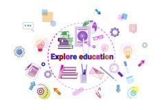 Исследуйте концепцию Elearning исследования знамени образования онлайн иллюстрация штока