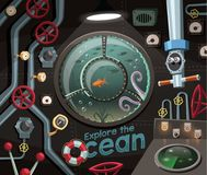 Исследуйте океан, взгляд под морем от подводной лодки иллюстрация вектора