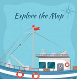 Исследуйте плакат карты с кораблем иллюстрация штока