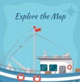 Исследуйте плакат карты с кораблем бесплатная иллюстрация
