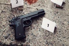 Исследование места преступления - доказательство и отметки стоковая фотография