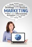 Исследования в области маркетинга молодой бизнес-леди стоковые фото