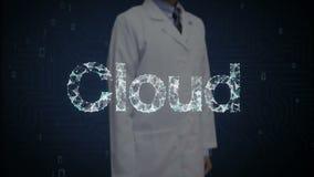 Исследователь, инженер касанные многочисленные точки собирает для того чтобы создать typo облака, концепцию облака вычисляя, сеть