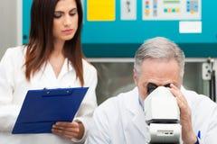 Исследователя на работе используя микроскоп Стоковая Фотография RF