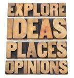 Исследуйте идеи, места, мнения стоковые изображения