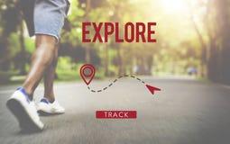 Исследуйте концепцию каникул отключения перемещения путешествием опыта Стоковые Изображения RF