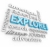 Исследуйте путешествие открытия экспедиции коллажа слова 3d иллюстрация вектора