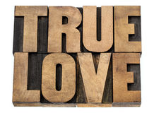 Истинная влюбленность в деревянном типе Стоковая Фотография