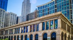 Историческая библиотека в Чикаго, Иллинойсе стоковая фотография