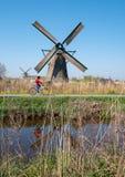 Историческая ветрянка с велосипедистом задействуя во фронте, на Kinderdijk, Голландия, Нидерланд, место всемирного наследия ЮНЕСК стоковое изображение