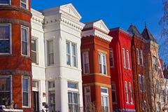 Историческая городская архитектура квадрата Mount Vernon в DC Вашингтона Стоковые Изображения