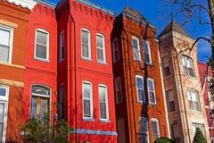 Историческая городская архитектура района квадрата Вернона в DC Вашингтона Стоковое Изображение