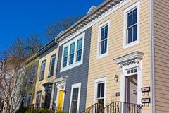 Историческая городская архитектура района Shaw в DC Вашингтона Стоковые Фотографии RF