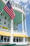 Историческая грандиозная гостиница на острове Mackinac в северном Мичигане Стоковое Изображение RF