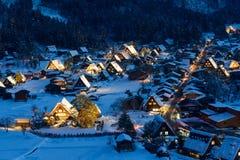 Историческая деревня Shirakawa-идет в зиму Стоковое Изображение