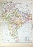 историческая карта Индии Стоковые Фотографии RF