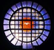 Историческая картина цветного стекла круга Стоковое Изображение