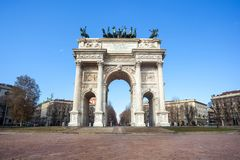 Историческая мраморная побежка della Arco свода, квадрат Sempione, милан, Стоковое Фото