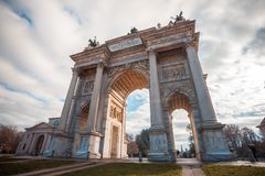 Историческая мраморная побежка della Arco свода, квадрат Sempione, милан, Стоковые Фото