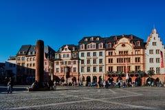 Историческая рыночная площадь Майнца, Германии стоковое фото
