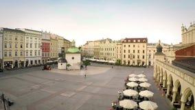 Историческая рыночная площадь Кракова, Польша сток-видео