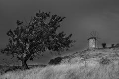 Историческая старая ветрянка в луге Стоковое фото RF