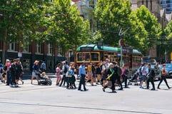 Историческая трамвайная линия туриста трассы 35 круга города Стоковые Изображения RF