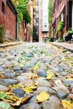 Историческая улица жолудя на Бостоне Стоковые Изображения RF