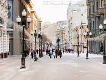Историческая улица Arbat пешехода в Москве Стоковые Изображения