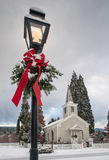 Историческая церковь с снегом Стоковые Изображения