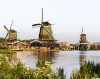 Исторические ветрянки Zaanse Schans на Амстердаме, Нидерландов Стоковое фото RF