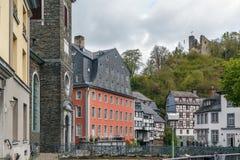 Исторические дома в Monschau, Германии стоковое изображение