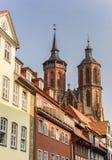 Исторические дома и башни церков в Gottingen Стоковое Изображение RF