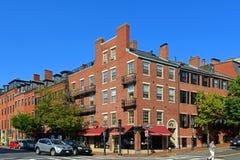 Исторические здания на холме маяка, Бостоне, США Стоковые Изображения RF