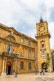 Исторические здание муниципалитет и башня с часами в AIX-en-Провансали, Франции Стоковые Изображения RF