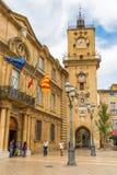 Исторические здание муниципалитет и башня с часами в AIX-en-Провансали, Франции Стоковая Фотография