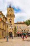 Исторические здание муниципалитет и башня с часами в AIX-en-Провансали, Франции Стоковые Изображения