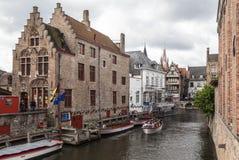 Исторические дома Брюгге Бельгия Стоковые Изображения RF