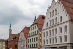 Исторические дома в Straubing, Германии Стоковое фото RF