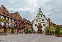 Исторические дома на Obernai, Эльзасе, Франции стоковое фото