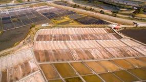 Исторические лотки соли в Авейру, виде с воздуха Стоковое Изображение